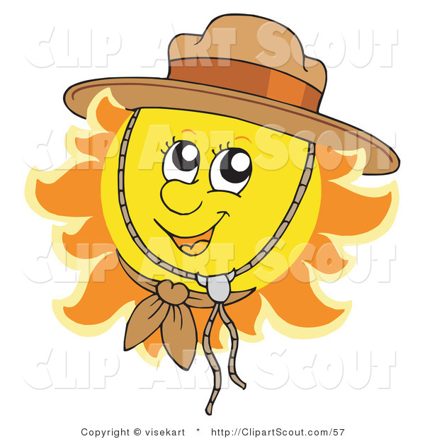 Clipart of a Cute Summer Sun Wearing a Scout Hat