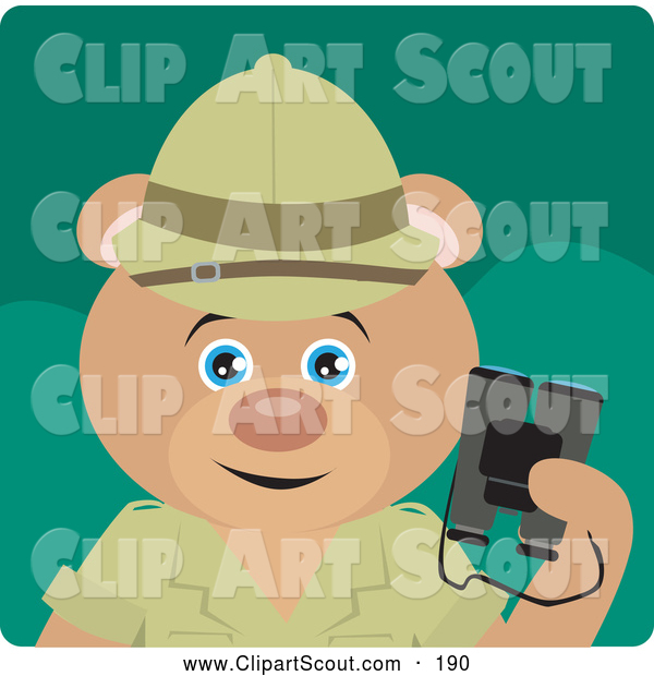 Clipart of a Cute Teddy Bear Explorer Character Holding Binoculars