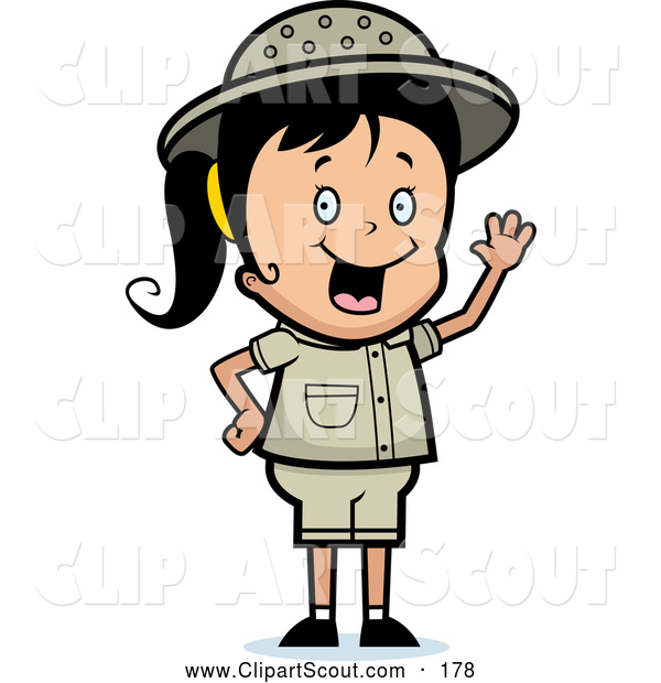Clipart of a Cute Waving Happy Safari Girl