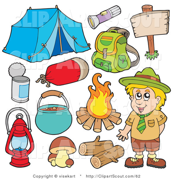Clipart of a Digital Collage of a Smiling Camper and Camping Gear