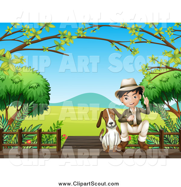 Clipart of a Dog and Asian Explorer Boy on a Boardwalk