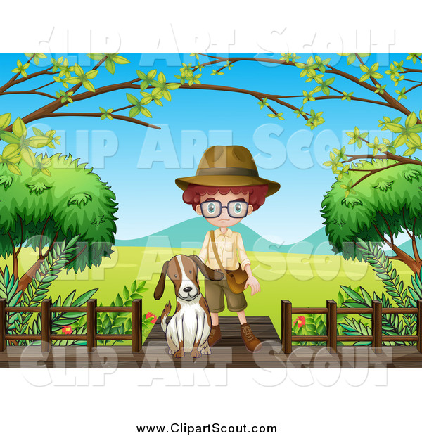 Clipart of a Dog and Explorer Boy on a Boardwalk over a Valley