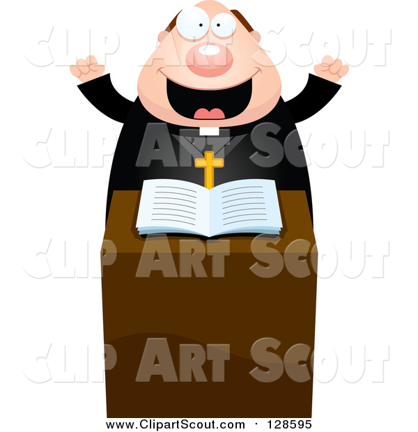 Clipart of a Enthusiastic Chubby Priest at the Pulpit