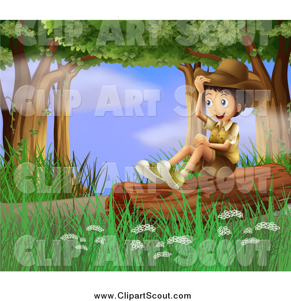 Clipart of a Explorer Scout Boy Sitting on a Forest Log