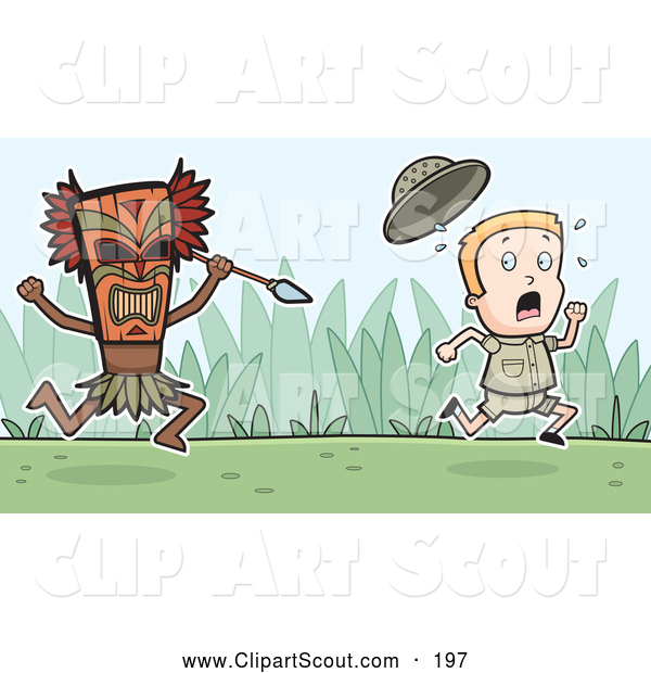 Clipart of a Fearful Explorer Kid Running from a Tribal Man with a Spear