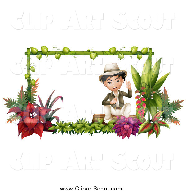 Clipart of a Friendly Asian Explorer Boy Sitting in a Garden Frame