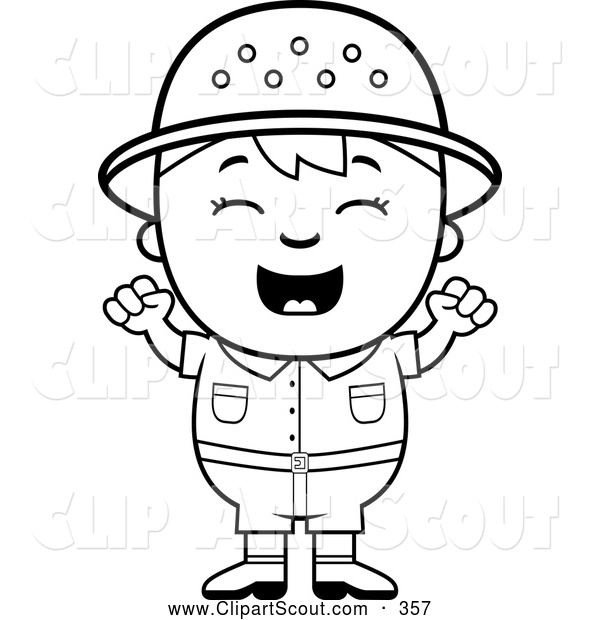 Clipart of a Friendly Black and White Happy Safari Boy Cheering