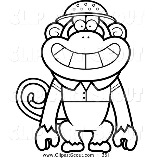 Clipart of a Friendly Black and White Monkey Explorer