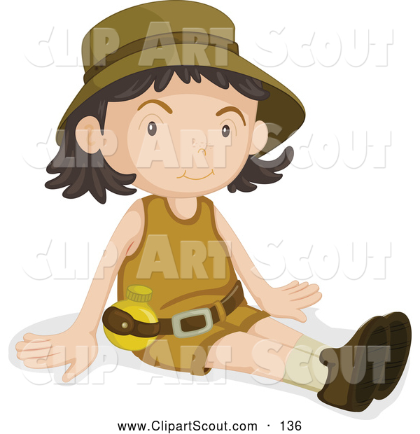 Clipart of a Friendly Girl Scout Sitting
