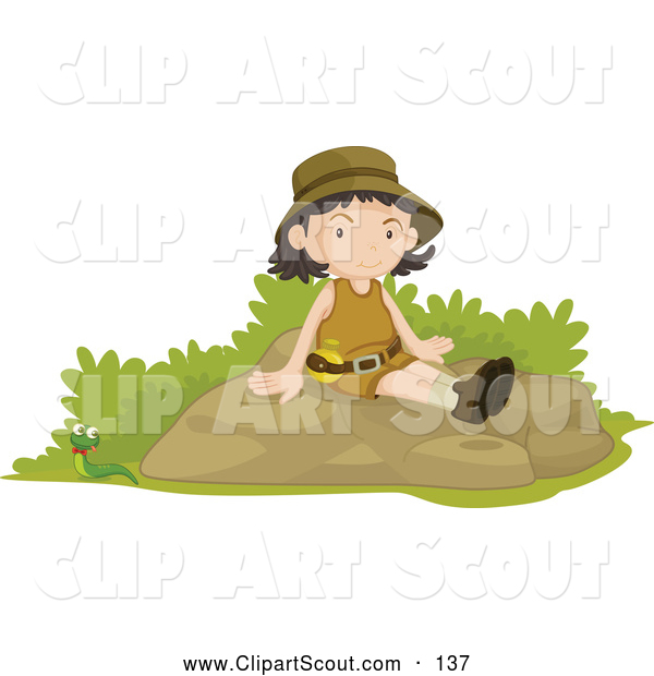 Clipart of a Friendly Girl Scout Sitting on a Boulder