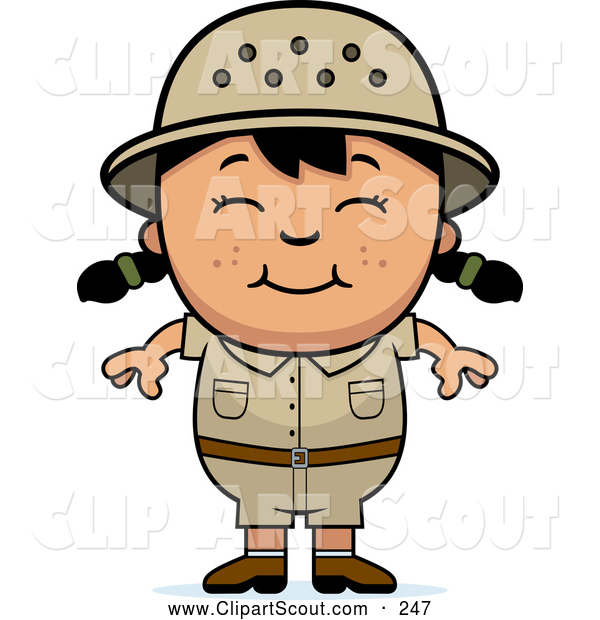 Clipart of a Friendly Happy Asian Safari Girl