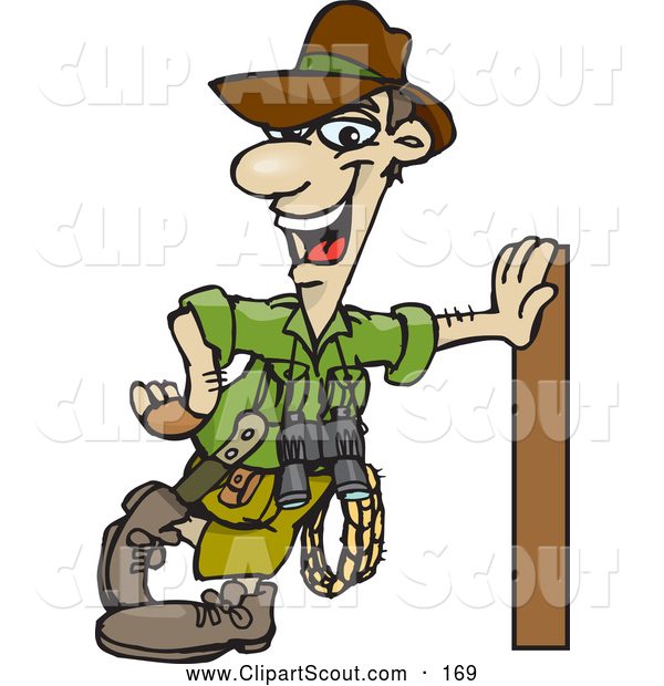 Clipart of a Friendly Male Explorer Leaning Against a Pole