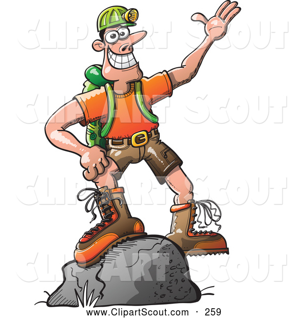 Clipart of a Friendly Outdoors Man Standing on a Boulder