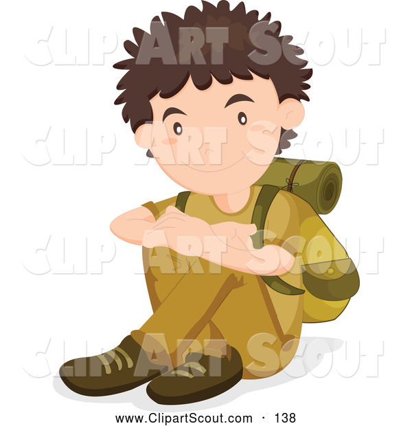 Clipart of a Friendly Resting Scout Boy with Hiking Gear