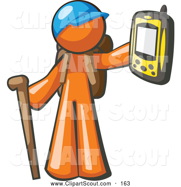 Clipart of a Geocaching Orange Man Hiker Holding out a Gps Device on White