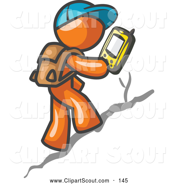 Clipart of a Geocaching Orange Man Hiker Using a High Tech GPS Device