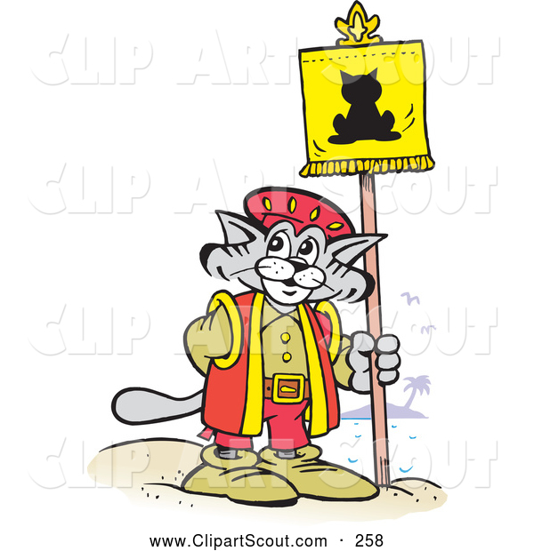 Clipart of a Gray Christopher Columbus Explorer Cat Posting a Flag