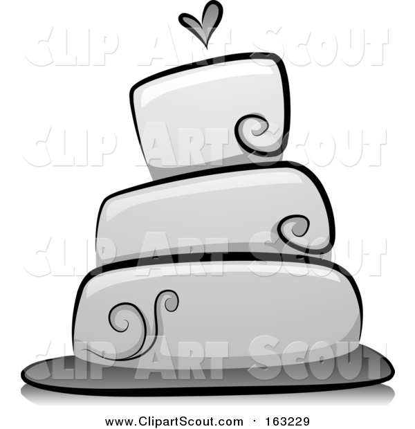 Clipart of a Grayscale Wedding Cake with a Heart