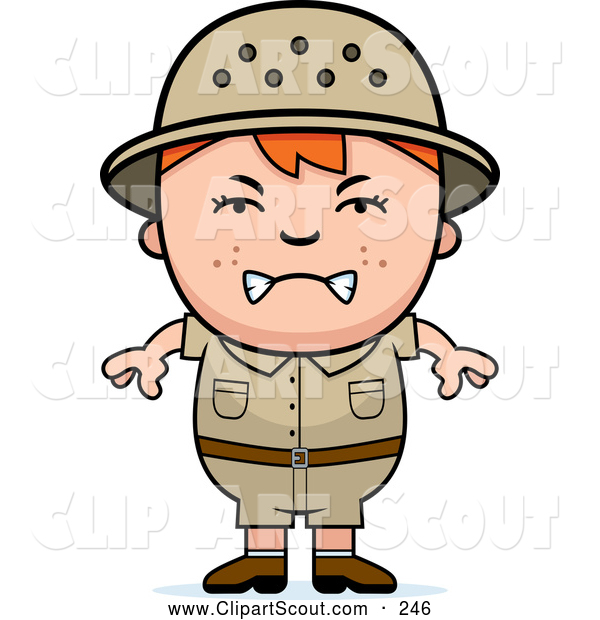 Clipart of a Grumpy Angry Red Haired Safari Boy