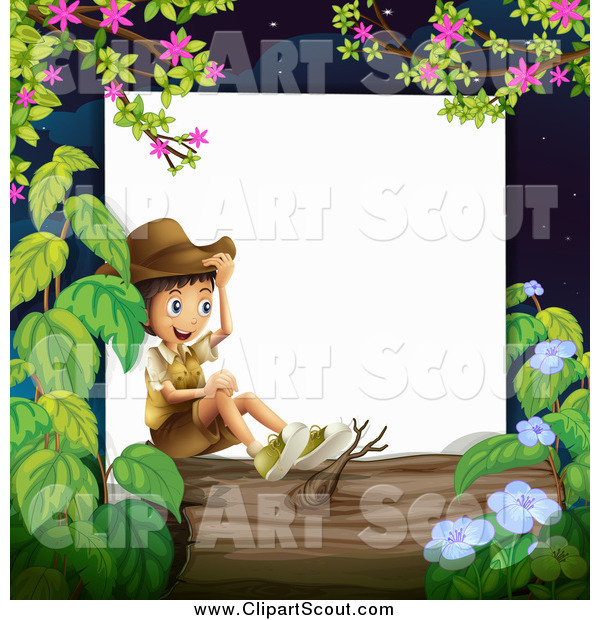 Clipart of a Happy Boy Explorer Sitting on a Log Border