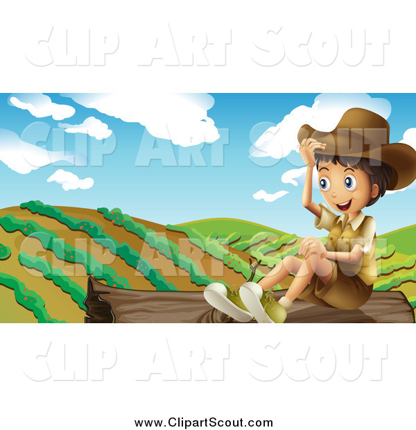 Clipart of a Happy Boy Explorer Sitting on a Log by a Crop
