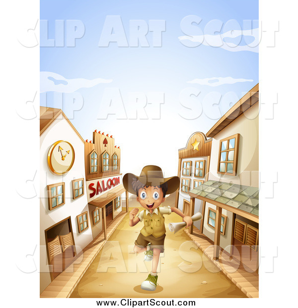 Clipart of a Happy Boy Running Through a Ghost Town