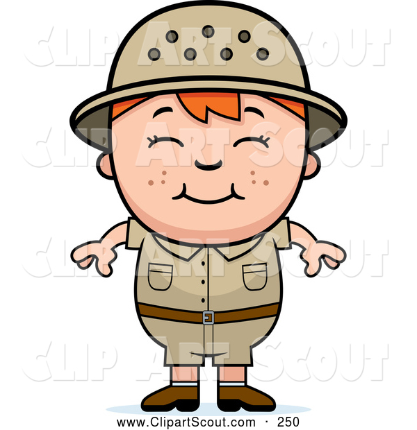 Clipart of a Happy Cute Red Haired Safari Boy