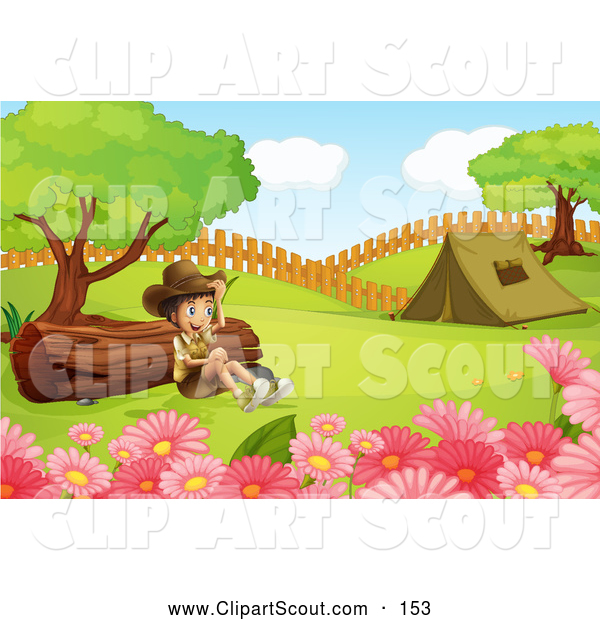Clipart of a Happy Explorer Boy by a Log and a Camping Tent