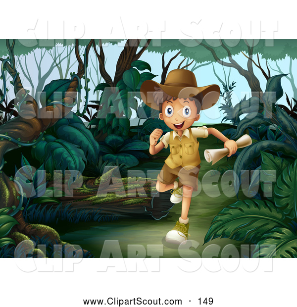 Clipart of a Happy Explorer Boy Running Through a Forest