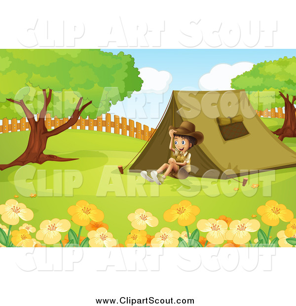 Clipart of a Happy Explorer Boy Sitting by a Tent