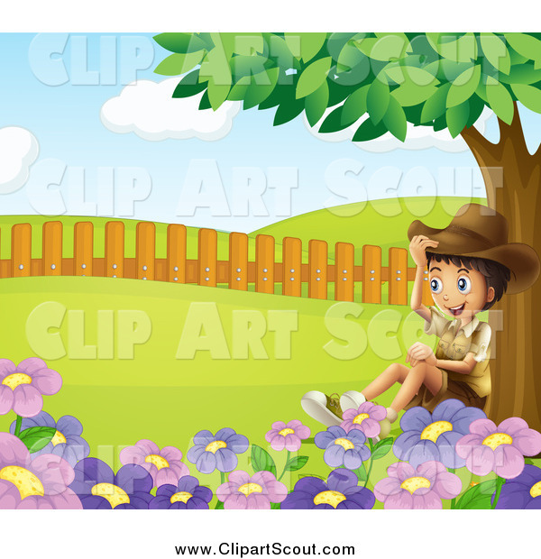 Clipart of a Happy Explorer Boy Sitting Under a Tree