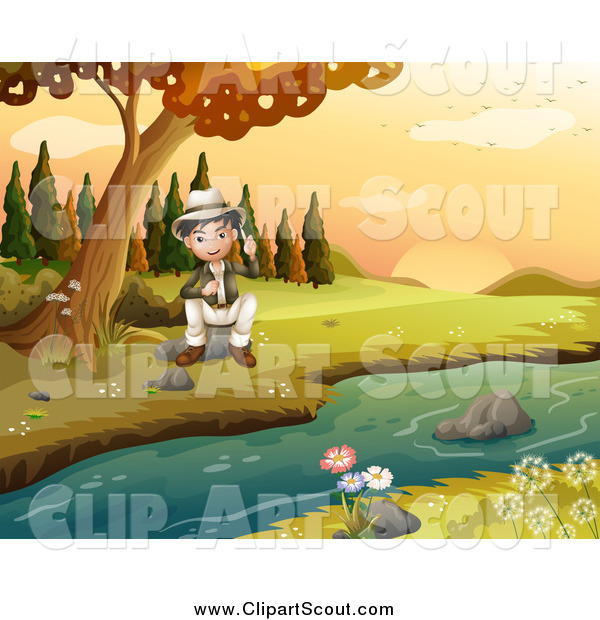 Clipart of a Happy Explorer Scout Boy Sitting by a Creek in an Autumn Landscape