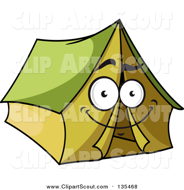Clipart of a Happy Green Tent Character