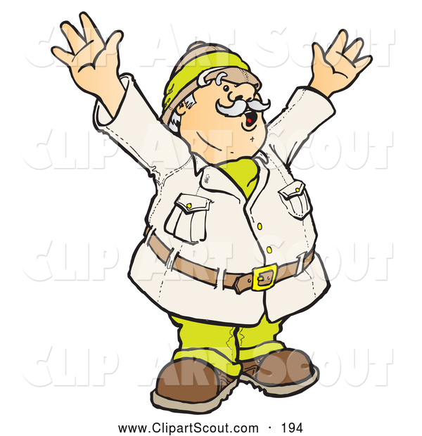 Clipart of a Happy Male Explorer Holding up His Arms While Coming upon an Amazing Scientific Discovery