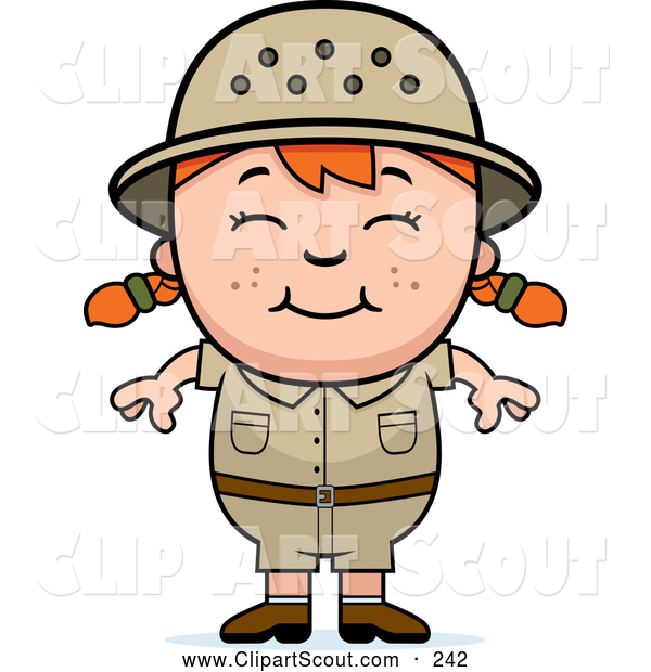 Clipart of a Happy Red Haired African Safari Girl