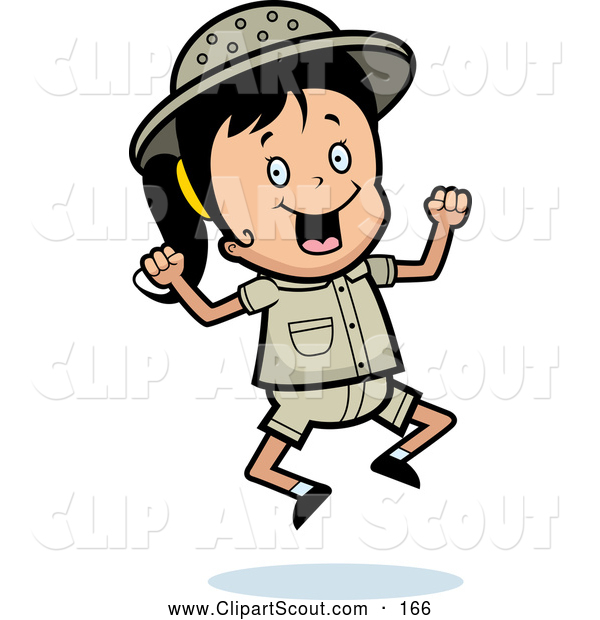 Clipart of a Happy Safari Girl Jumping up and down