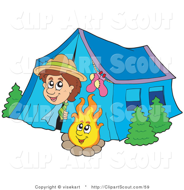 Clipart of a Happy Scout Boy Peeking out of His Tent by a Camp Fire