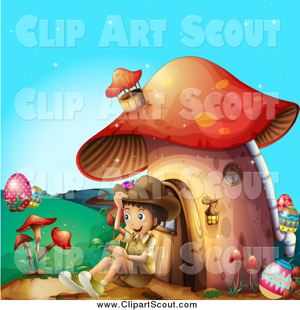 Clipart of a Happy Scout Boy Sitting Against a Mushroom House