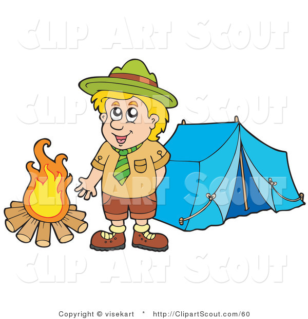 Clipart of a Happy Scout Boy Standing by a Camp Fire