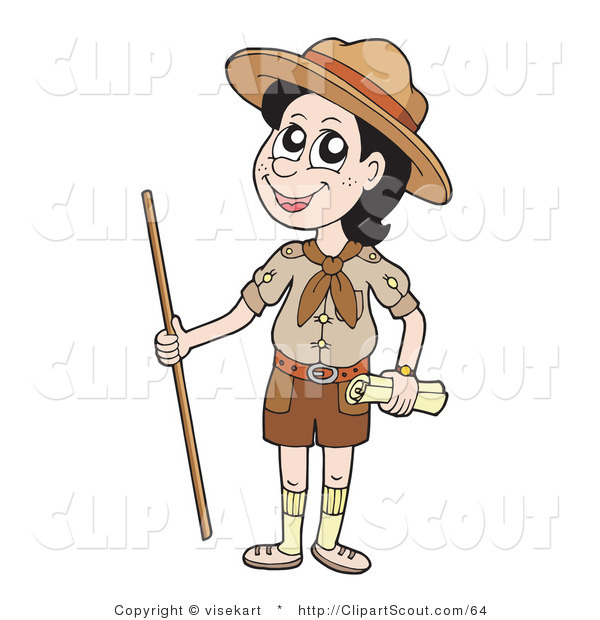 Clipart of a Happy Scout Boy with a Walking Stick