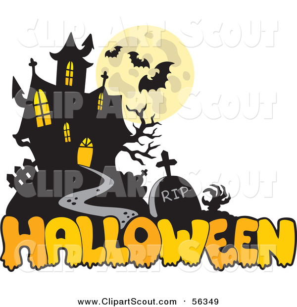 Clipart of a Haunted Mansion and Halloween Greeting