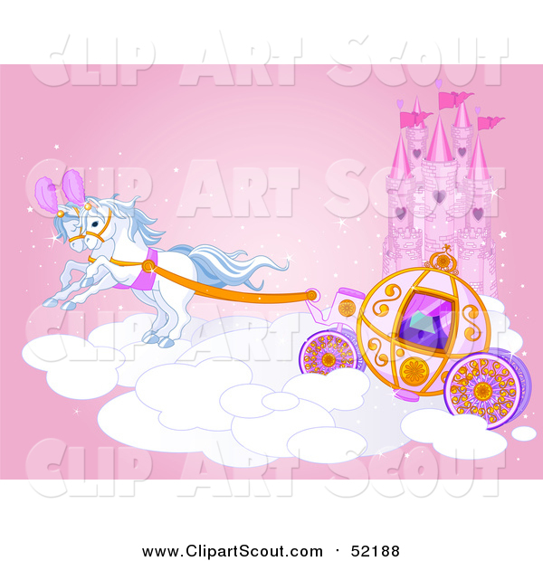 Clipart of a Horse Drawn Carriage and Flying Ponies on a Cloud by a Castle