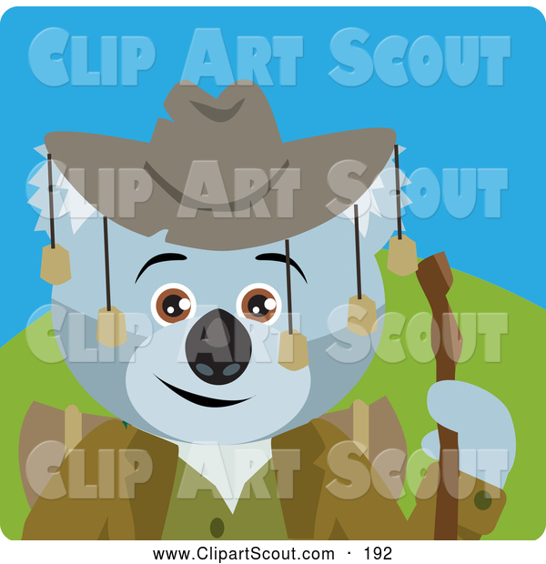 Clipart of a Koala Bear Hiker Character with Cowboy Hat