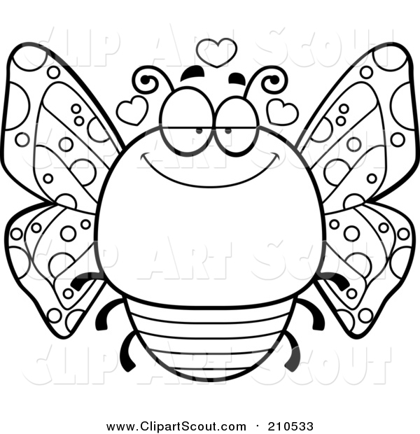 Clipart of a Lineart Chubby Infatuated Butterfly