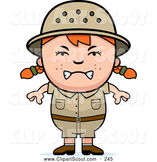 Clipart of a Mad or Angry Red Haired Safari Girl