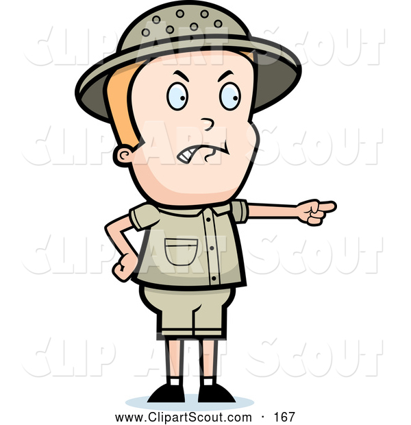 Clipart of a Mad Safari Boy Pointing to the Right
