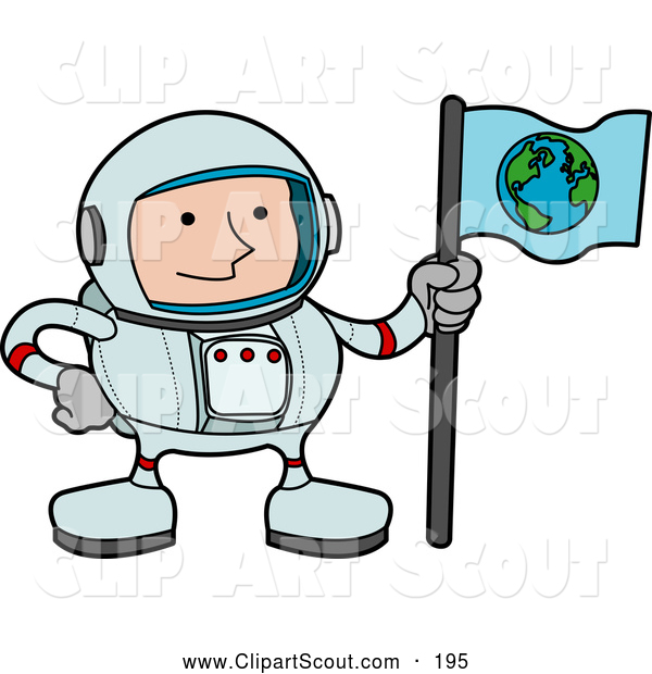 Clipart of a Male Astronaut in a Space Suit, Holding a World Flag and Standing on a Planet, on White