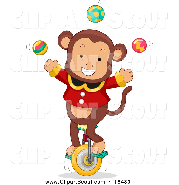 Clipart of a Male Circus Monkey Juggling on a Unicycle