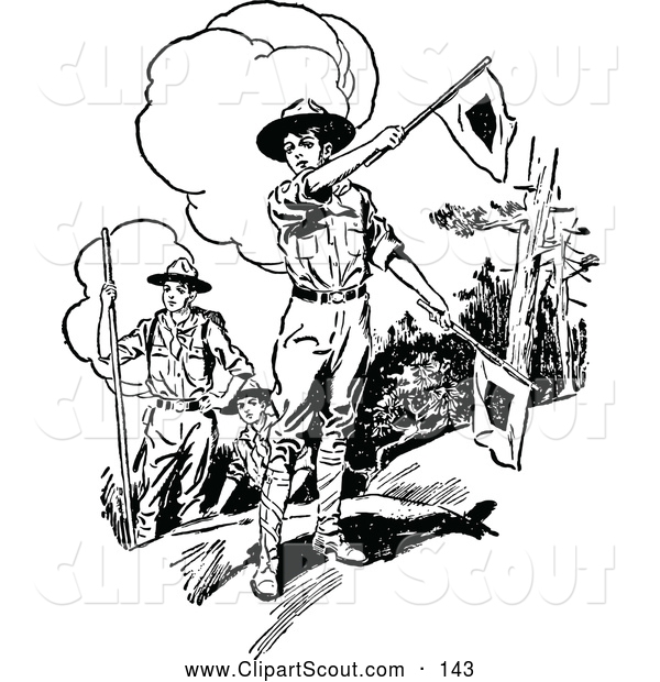 Clipart of a Old Fashioned Retro Vintage Black and White Boy Scouts with Flags