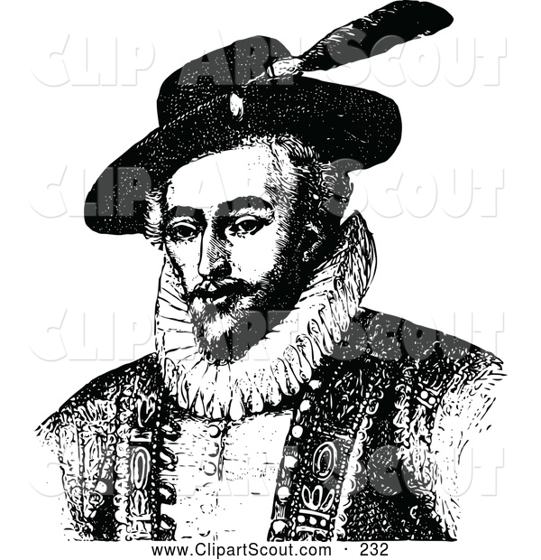 Clipart of a Old Fashioned Vintage Black and White Portrait of Sir Walter Raleigh